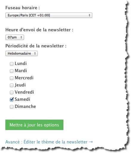 Définir les paramètres d'envoi de la newsletter dans FeedPress.
