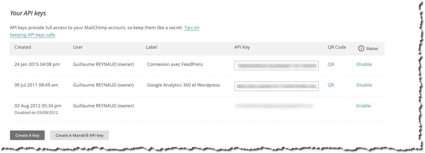 Récupérer les API dans Mailchimp.