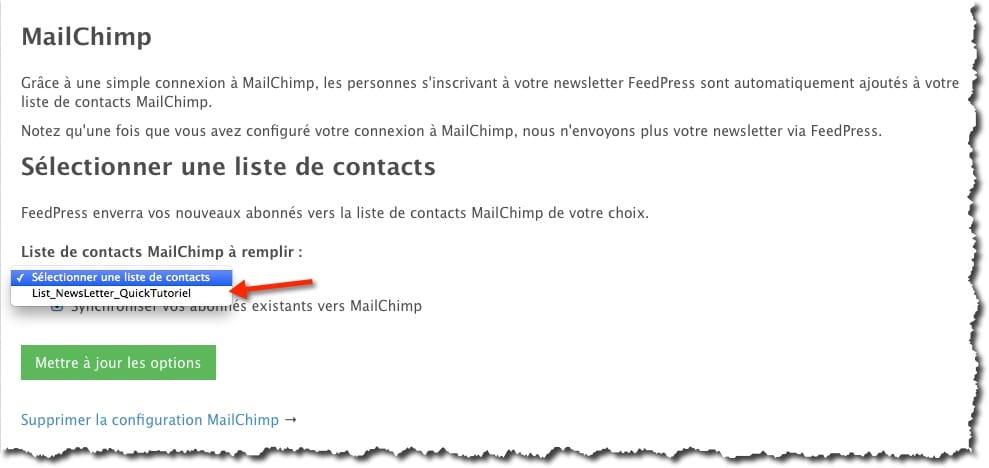 Récupérer votre liste d'abonnés FeedPress dans Mailchimp