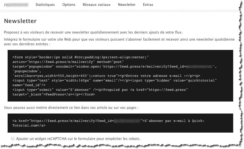Intégrer le formulaire d'abonnement à votre Newsletter sur votre blog grâce au code de FeedPress