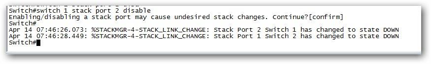 Désactiver le port stack d'un switch