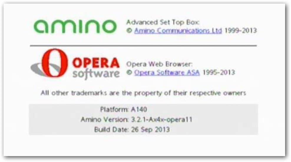 Page de démarrage du boitier Amino A140 après la mise à jour du firmware