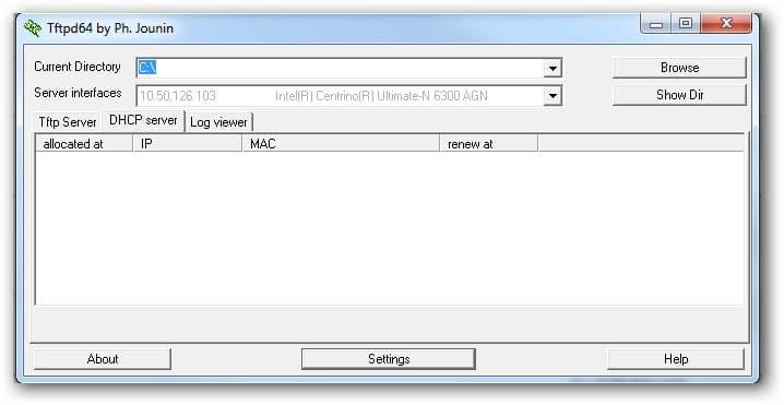 utiliser TFTPD64 pour paramétrer le boitier Amino 140