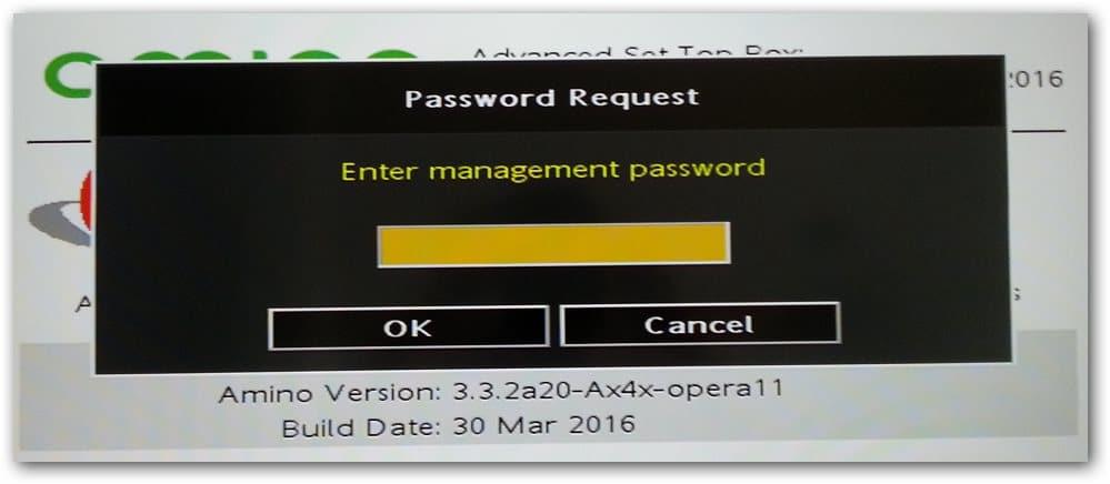 mot de passe par défaut pour rentrer dans la configuration du boitier Amino A140