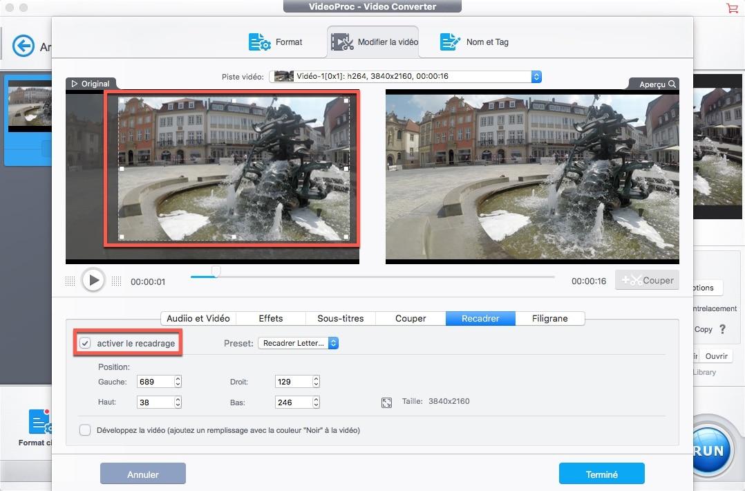 Cliquez sur les boutons Couper et Recadrerde l'onglet Modifier la vidéo pour accéder à l'interface de recadrage vidéo de VideoProc
