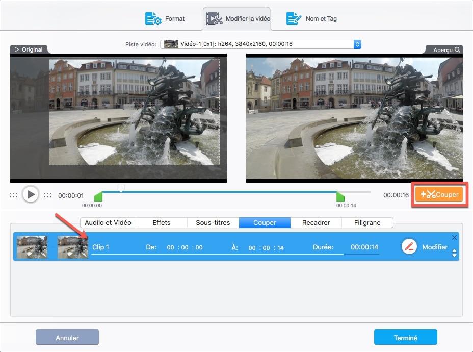 Sélectionnez Recadrer, cochez Activer le recadrage, puis faites glisser les lignes dans la fenêtre de prévisualisation pour couper les zones indésirables avec VideoProc