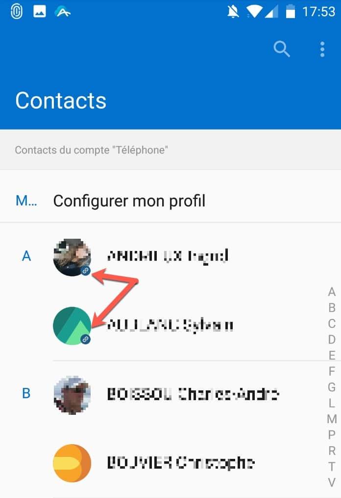 Vos contacts Mailfence sont ensuite synchronisés dans l'utilitaire Contacts d'Android