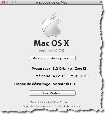 Pour récupérer simplement le numéro de série de votre MAC aller dans le menu Pomme et à propos de ce MAC