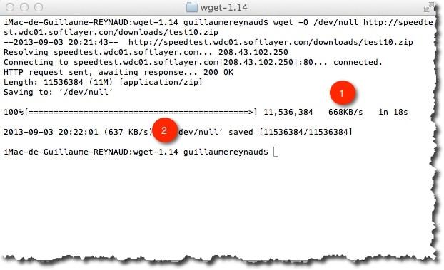 mesure sa vitesse de connexion avec WGET sous MAC