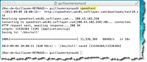 créer un alias speedtest sous MAC