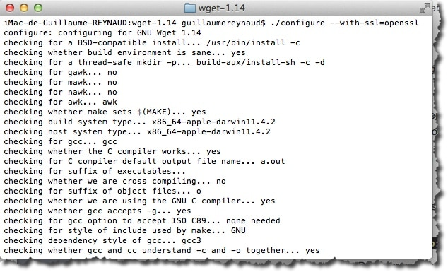 Compiler WGET avec l'option --with-SSL=openssl sous MAC