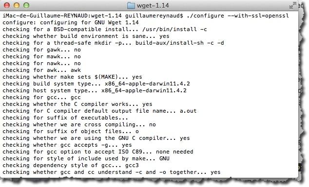 Compiler WGET avec l'option --with-SSL=openssl sous MAC