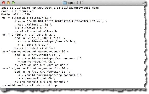 Faire un make pour compiler WGET sous MAC