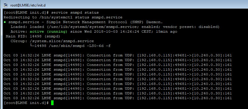 afficher le statut du service SNMP sous RedHat