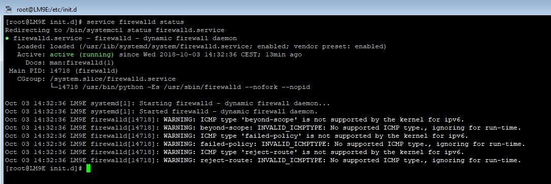 vérifier le statut du service firewalld sous RedHat