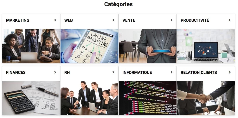 liste des catégories disponibles pour rechercher un logiciel sur le site Mon-Logiciel
