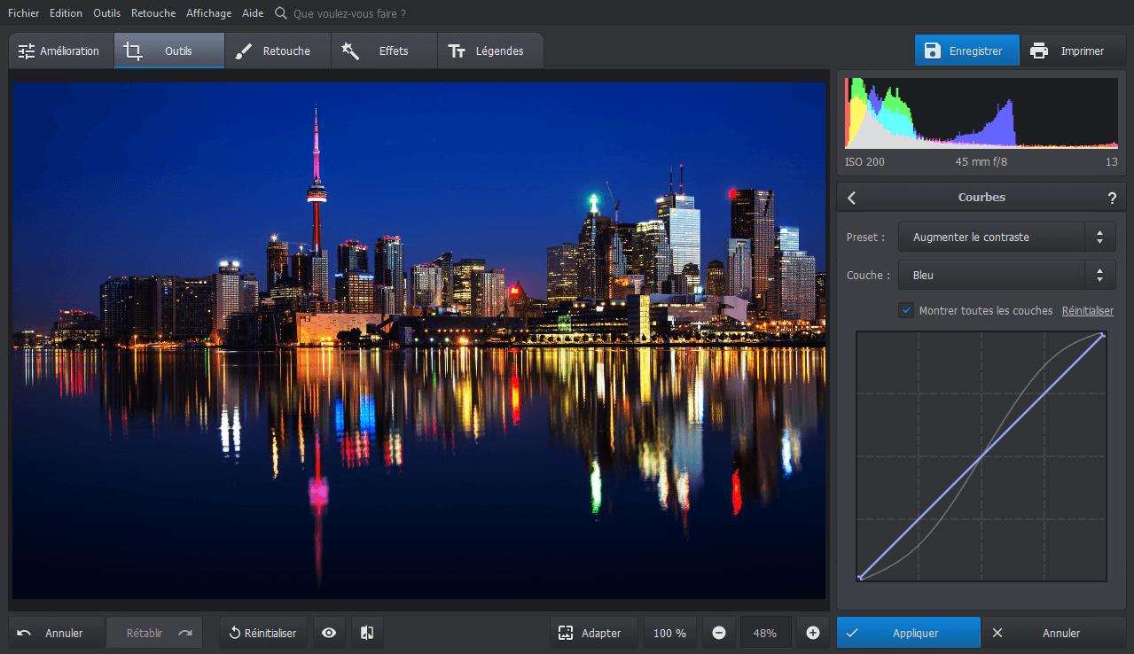 Modifier la courbe des couleurs d'une photo dans PhotoWorks