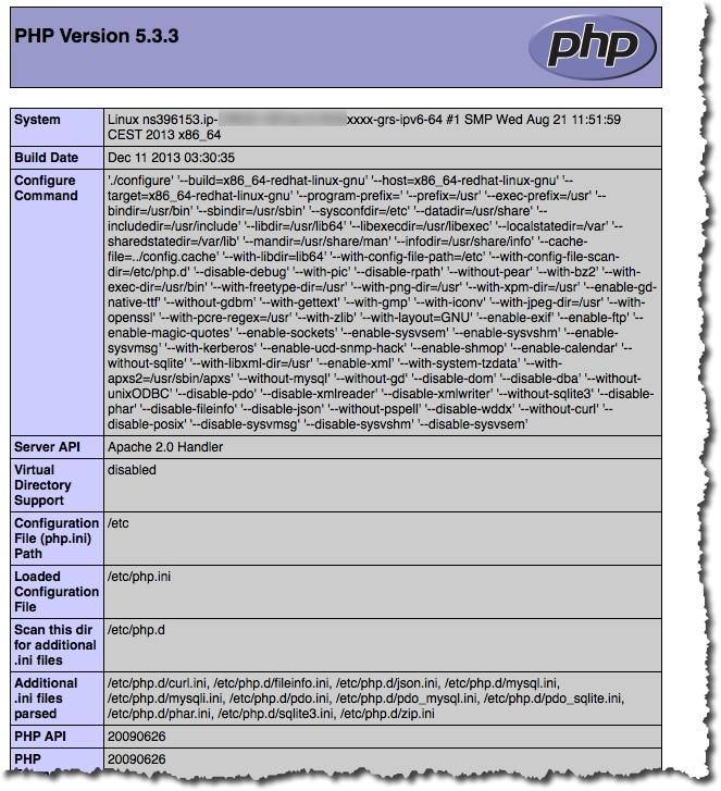 Afficher des informations de configuration de votre serveur LAMP avec le fichier phpinfo.php.