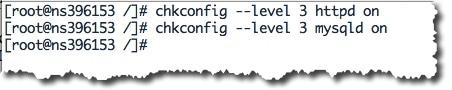 Lancer les services HTTPD et MYSQLD au démarrage de votre serveur avec la commande chkconfig