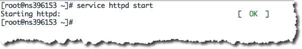 Lancer le service httpd avec la commande : service httpd start