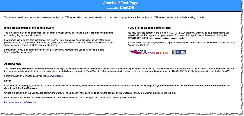 Afficher la page de test de Apache pour s'assurer que le serveur web est opérationnel