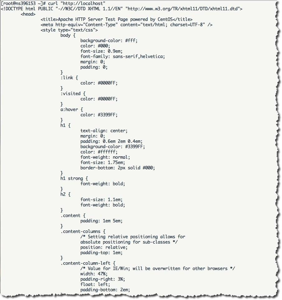 utiliser la commande curl pour tester un serveur web Apache.