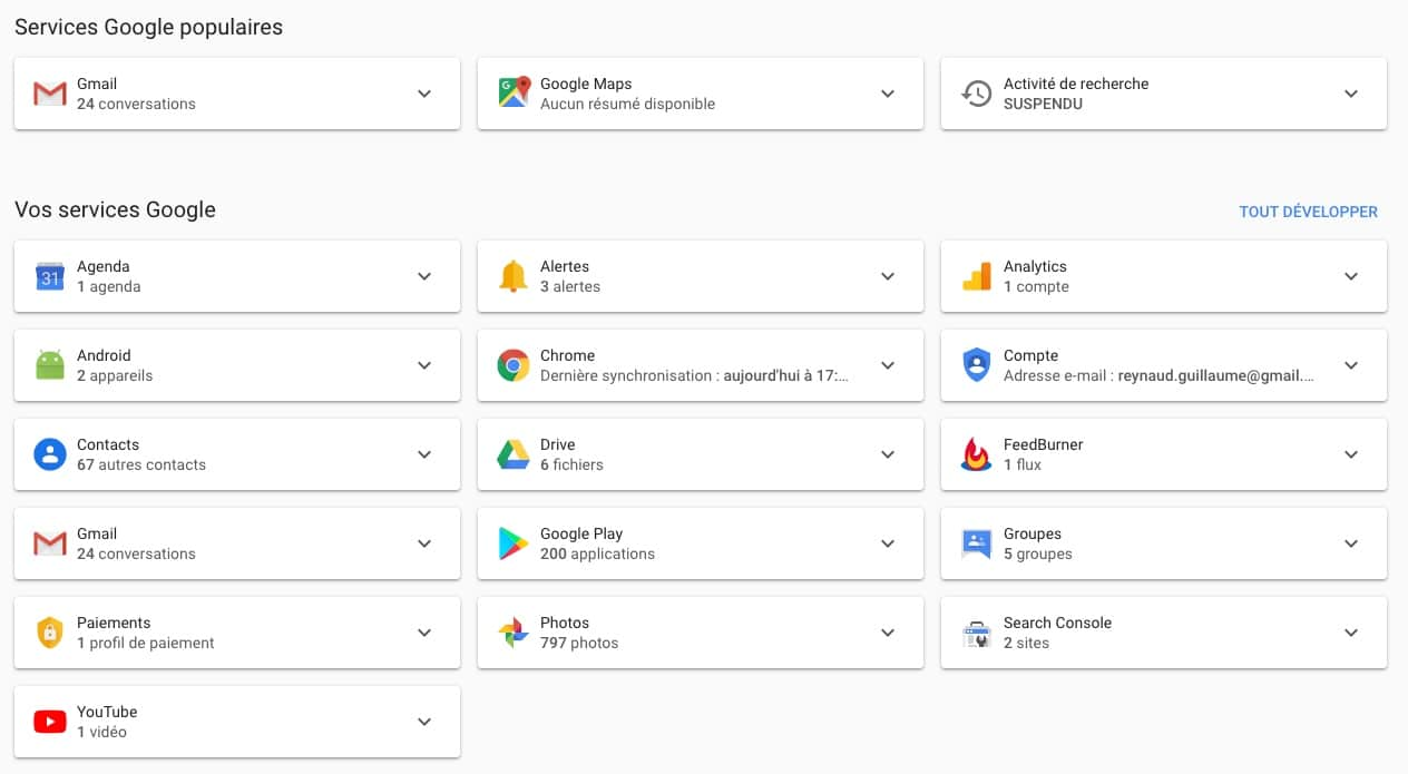 Google Dashboard, gérez vos services Google.