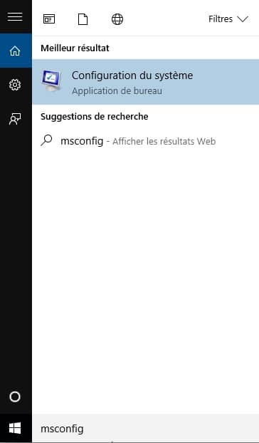 utilitaire msconfig sous Windows 10