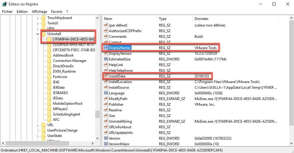 Déterminer la date d'installation d'un logiciel sous Windows.