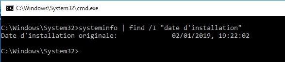 Déterminer la date d'installation de Windows sur son portable avec la commande systeminfo en CLI