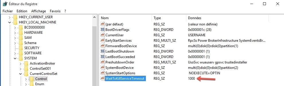 Accélérer la fermeture de Windows grâce à regedit