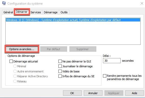 Configuration du système Windows 10 avec l'utilitaire MSconfig