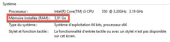 Voir la quantité de mémoire RAM installée sur Windows 10