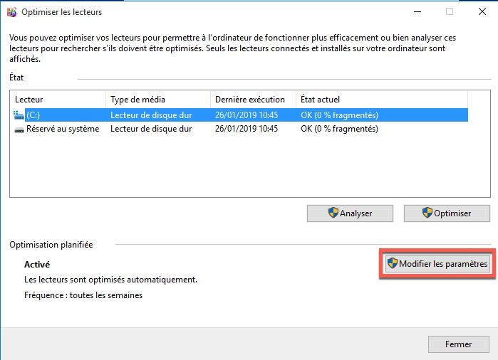 Désactiver la défragmentation sur les disques SSD