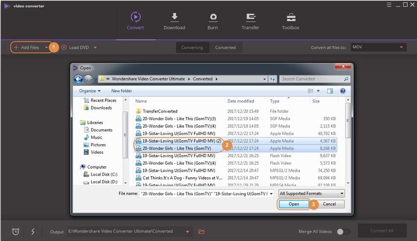 Sélectionner votre fichier MOV à convertir en MP4 avec Wondershare Video Converter Ultimate