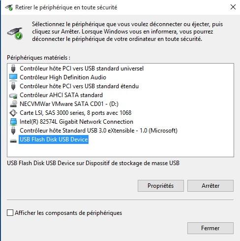 déconnecter en toute sécurité un périphérique USB en cliquant sur un icône sur le bureau