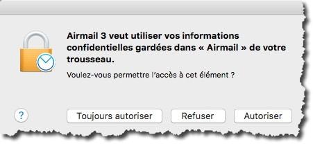 Transférer les paramètres Mail dans Airmail pour un compte de messagerie