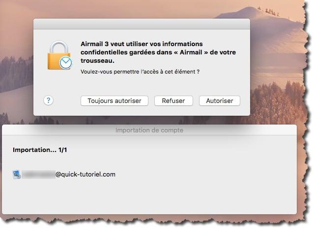 Lancer l'importation des paramètres d'un compte Mail dans Airmail