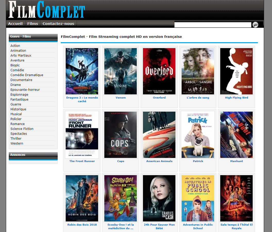 FilmComplet une autre alternative pour regarder un film en streaming.