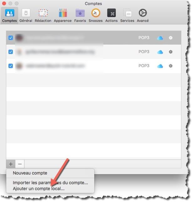 Transférer ses mails vers Airmail en créant un compte local dans Airmail.