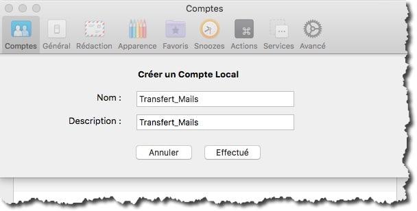 Créer un BAL Local uniquement pour faire le transfert des mails