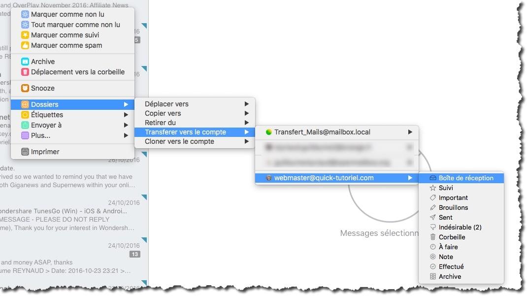Déplacer vos messages de la boite local dans votre boite mail