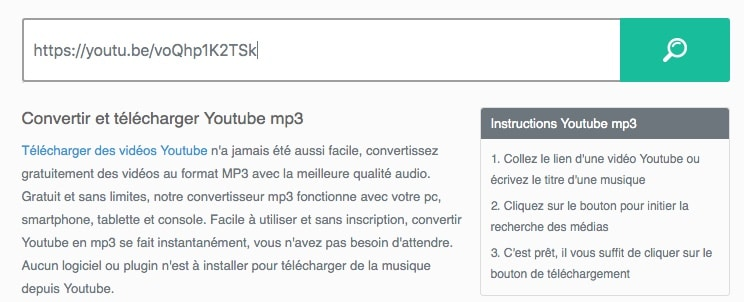 Convertir une vidéo Youtube en MP3 depuis telecharger-youtube-mp3.