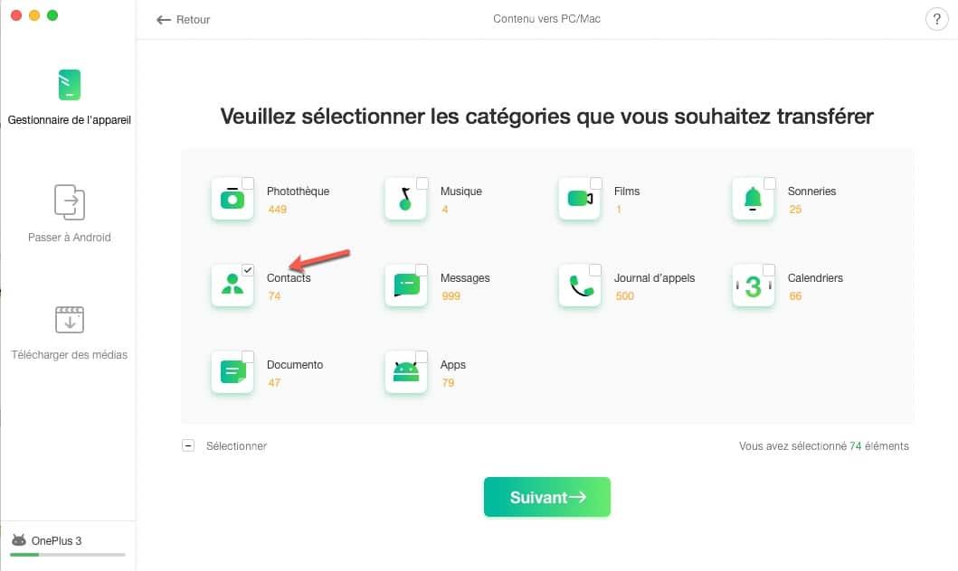Transférer une catégorie entière de votre smartphone vers votre ordinateur avec AnyTrans pour Android
