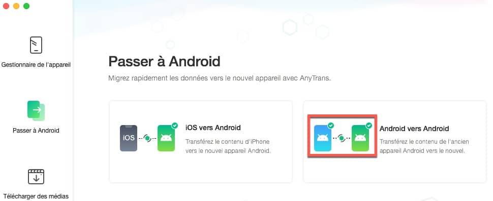Cliquer sur Passer à Android pour cloner votre smartphone