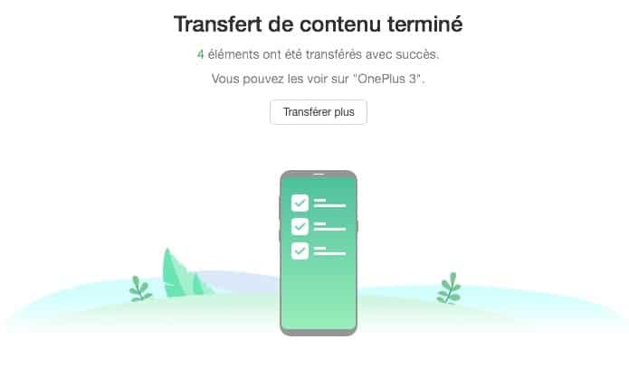 Début du clonage de votre téléphone avec AnyTrans pour Android.
