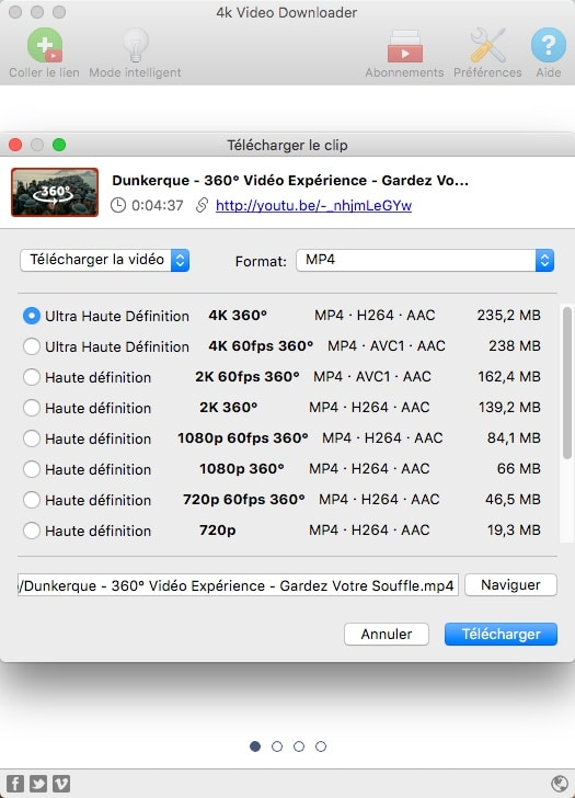 Télécharger des vidéos Youtube à 360° avec 4K Video Downloader