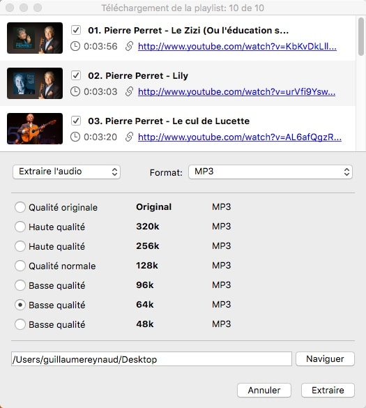 Télécharger une playlist sur Youtube avec 4K Video Downloader.