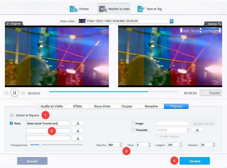 Comment ajouter un Watermark avec VideoProc.