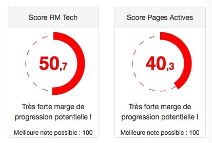 Score RM Tech et le Score Pages Actives.